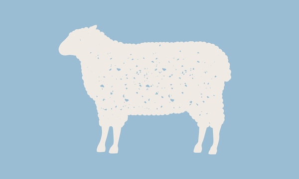 Sheep silhouette. Sheep icon isolated on blue background. Graphic design for meat shop, grocery, farmers market. Vintage typography. Vector Illustration