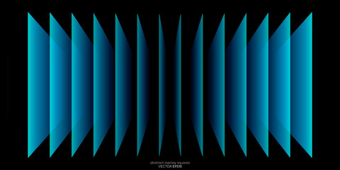 Obraz Abstract 3D perspective transparent rectangles overlay pattern by green blue colors on black background. Vector illustration in concept technology, modern. - fototapety do salonu