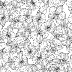 Seamless pattern of orchids, vector