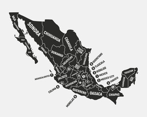 Wall Mural - Mexico map. Poster map of Mexico with state names. Mexican background. Vector illustration