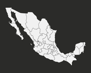 Wall Mural - Mexico map with states isolated on a black background. Mexico map. Vector illustration