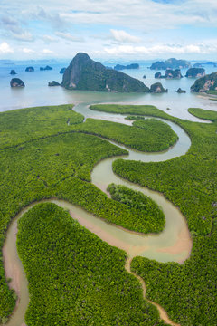 Panoramic Aerial view of Phang Nga bay with mangrove tree forest and hills in the Andaman sea, Thailand