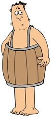 Poor man wearing only a wooden barrel