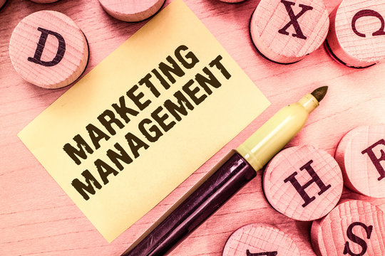 Handwriting text writing Marketing Management. Concept meaning Develop Advertise Promote a new Product or Service.