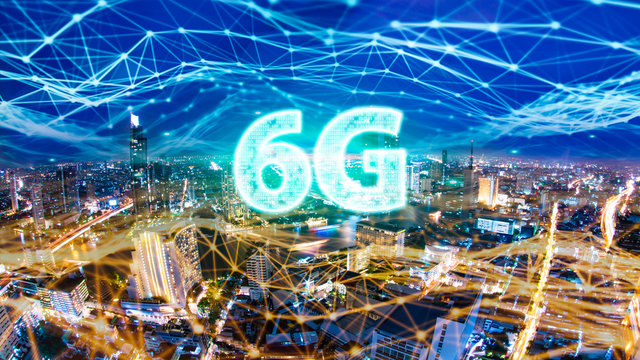 6G network digital hologram and internet of things on city background.6G network wireless systems.