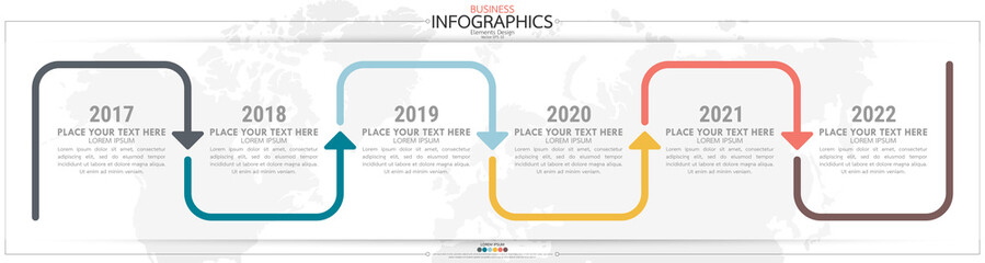 Fototapeta nfographic business horizontal timeline steps process chart template. Vector modern banner used for presentation and workflow layout diagram, web design. Abstract elements of graph options. obraz