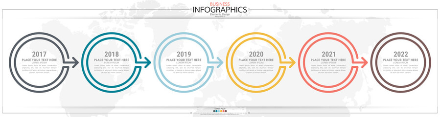 nfographic business horizontal timeline steps process chart template. Vector modern banner used for presentation and workflow layout diagram, web design. Abstract elements of graph options. Fotomurales