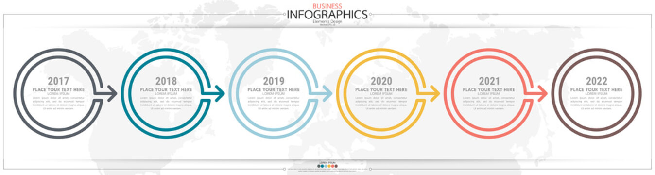 nfographic business horizontal timeline steps process chart template. Vector modern banner used for presentation and workflow layout diagram, web design. Abstract elements of graph options.