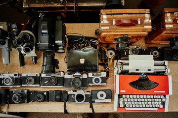 Old vintage rare retro photographic equipment, photo cameras sold at the flea market, swap meet