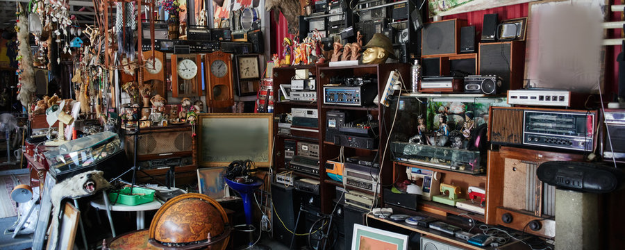 Flea market, swap meet, old rare retro things, vintage art objects