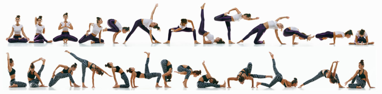 Sporty young woman doing yoga practice on white studio background. Fit flexible model practicing. Concept of healthy lifestyle and natural balance between body and mental development. Creative collage
