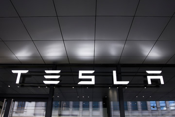 Detail from Tesla store in Basel, Switzerland. It is an American company that specializes in electric automotives founded at 2003.