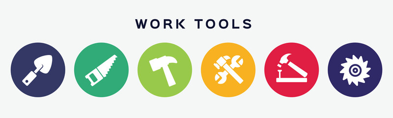 Working tools concept banner with 6 icons.