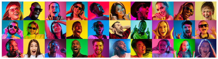 Beautiful male and female portrait on multicolored neon light backgroud. Smiling, surprised, screaming. Human emotions, facial expression. Creative collage made of different photos of 16 models. Fotoväggar