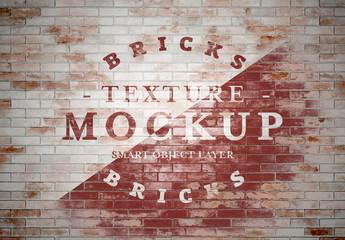 Grunge Washed Brick Texture Mockup