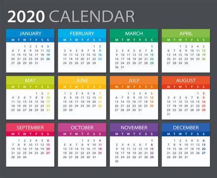 2020 Calendar - vector illustration