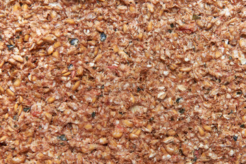 Raw bread made from wheat and tomatoes dried in a dehydrator, close-up