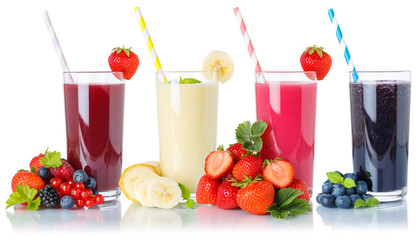 Collection of fruit smoothies fruits juice drink straw in glass isolated on white