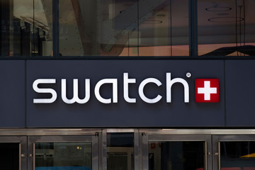 Detail of the Swatch store in New York, USA. Swatch is watch manufacturing company founded at 1983.