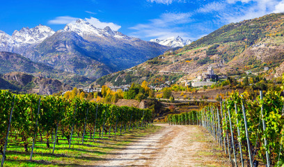 Impressive Alps mountains, scenic valley of castles and vineyards - Aosta, northen Italy Fototapete