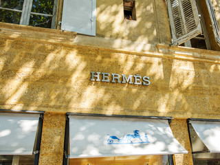AIX-EN-PROVENCE, FRANCE - JUL 17, 2014: HERMES fashion store in the center of the Aix-En-Provence city located in Rue Thiers