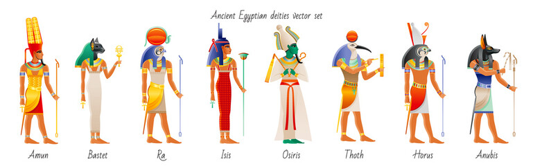 Ancient god goddess from Egypt icon set. Amun Ra, Bastet, Isis, Osiris, Thoth, Horus, Anubis. Egyptian deity. Old painting style with realistic cartoon element. Vector illustration isolated on white