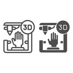 3D organ printing line and glyph icon. Bionic hand printing vector illustration isolated on white. 3d arm printing outline style design, designed for web and app. Eps 10.