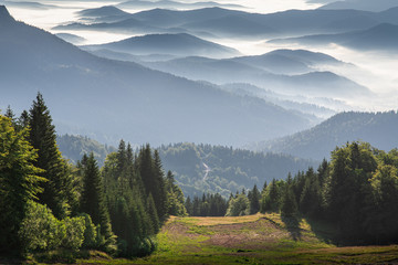Mountain range from the top of the mountain Jahorina Wall mural