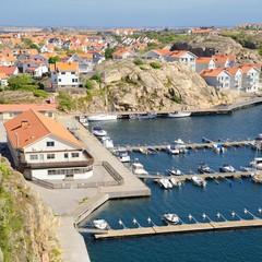 Beautiful Swedish landscape view of fishing houses at Kungshamn