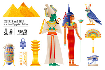 Ancient Egyptian god pharaoh Osiris goddess Isis icon set. Fan, vase, Djed pillar, knot, Deity Horus falcon, wadjet. 3d cartoon vector illustration. Old art from Egypt. Isolated on white backgroun