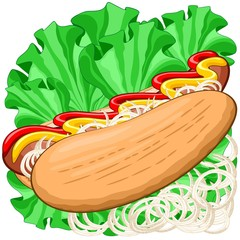 In de dag Draw hotdog, food, sandwich, delicious, snack, hungry, break, fastfood, sausage, salami, sauce, mustard, ketchup, salad, greensalad, onions, lettuce, lunch, meat, cuisine, traditional, kitchen, menu, dinne