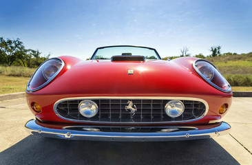 Front view of a red 1962 Ferrari 250 GT California Spyder classic car on October 18, 2014 in Westlake, Texas.