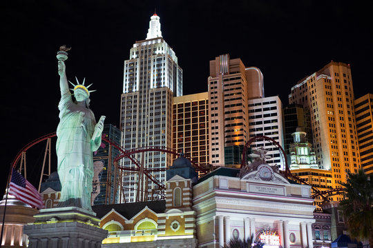 Editorial view of the Statue of Liberty and other faux landmarks at New York, New York Hotel and Casino on October 06, 2010 in Las Vegas, Nevada.