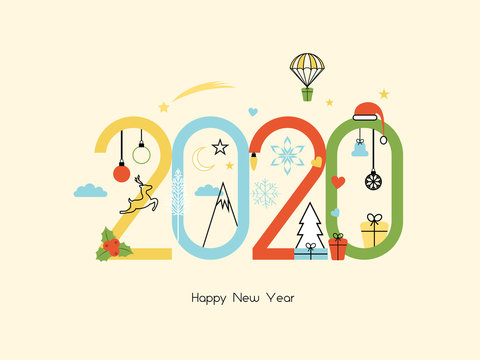 Happy New Year 2020. Vector illustration concept for background, greeting card. Website, mobile website and social media banner. Party invitation card and other marketing material.