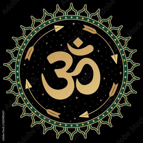 OM symbol mandala  Folk ornament with ancient Hindu mantra