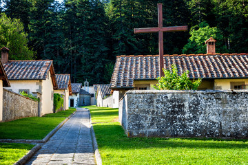 Camaldoli Monastery nestled in the nature reserve of the Casentino in Tuscany. Italy. Wall mural