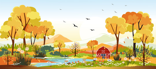 Panorama landscapes of Countryside in autumn. Panoramic of mid autumn with farm in yellow foliage. Wonderland landscape in fall season. Fototapete