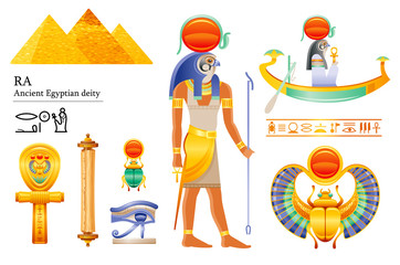 Ancient Egyptian Sun god Ra icon set. Falcon sun deity, solar disk, barque, scarab, papyrus scroll, ankh, eye. 3d cartoon vector illustration. Old mural art from Egypt. Isolated on white background