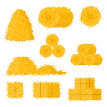 Cartoon Color Bale of Hay Icon Set. Vector
