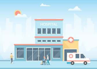 Foto auf Acrylglas Licht blau Cartoon Hospital Building on a Landscape Background Scene. Vector