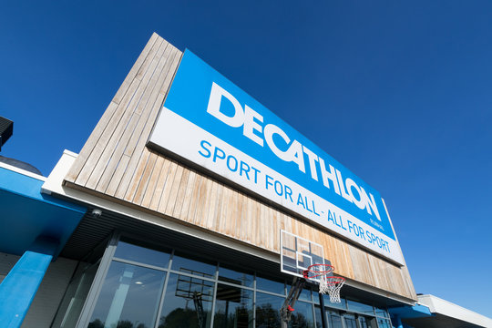 ARNHEM, THE NETHERLANDS - OCTOBER 28, 2018: Decathlon sign at branch. Decathlon is a French sporting goods retailer, the largest sporting goods retailer in the world.