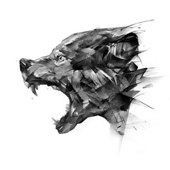 art side view portrait of a wolf on a white background