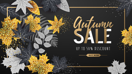 Autumn big sale typography poster with golden and black autumn leaves. Nature concept Wall mural
