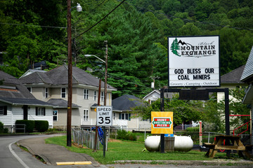 A sign expresses support for the area's coal miners in downtown Lynch
