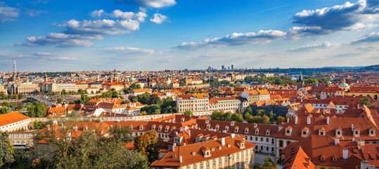 Panorama of the city of Prague, the capital of the Czech Republic.