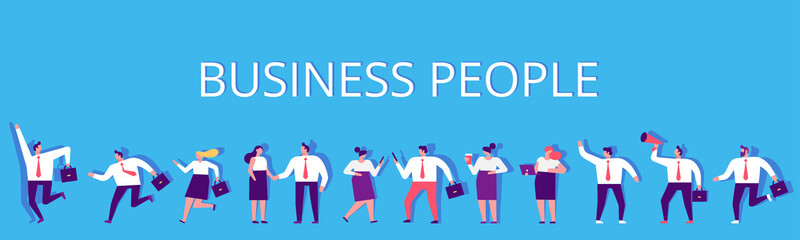Wall Mural - Business People horizontal banner. Business team. Teamwork, brainstorming. Success. Men and women. Flat vector characters isolated on white.