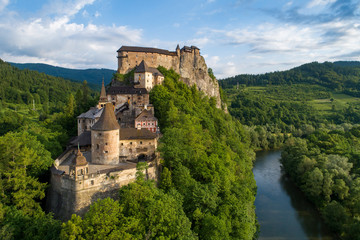 Orava castle in Slovakia. Aerial view at sunrise Fototapete