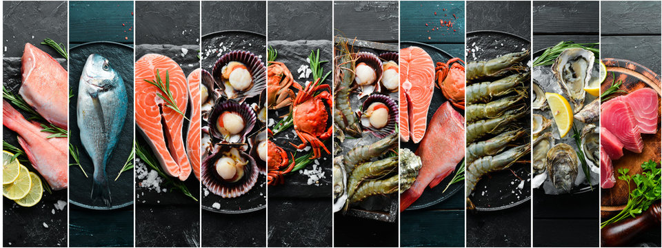 Photo collage. Seafood and raw fish on black stone background.