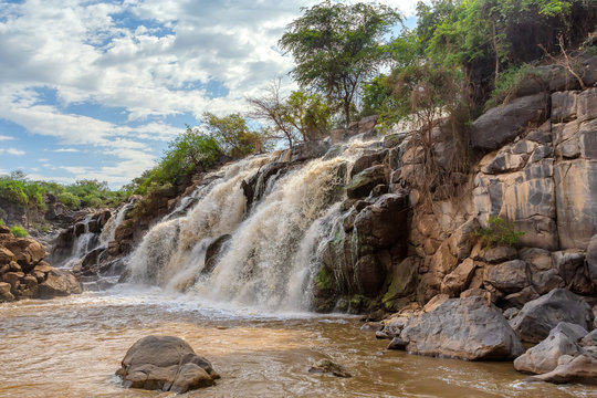 Fall in Awash National Park. Waterfalls in Awash wildlife reserve in south of Ethiopia. Wilderness scene, Africa
