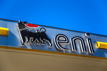 Detail from Eni petrol station in Syracuse. is an Italian multinational oil and gas company headquartered in Rome founded at 1953.